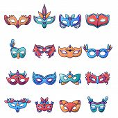 Carnival Mask Venetian Icons Set. Cartoon Illustration Of 25 Carnival Mask Venetian Icons For Web poster