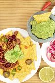 An Overhead Photo Of Mexican Nachos With Guacamole And Copy Space poster