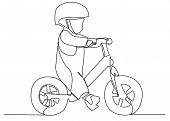 Continuous Single Drawn One Line Child On A Bicycle, A Bicycle Without Pedals. Hand-drawn Picture Si poster