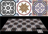 picture of ceramic tile  - Vector ceramic tiles with seamless pattern 6 - JPG