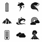 Meteorological Office Icons Set. Simple Set Of 9 Meteorological Office Icons For Web Isolated On Whi poster