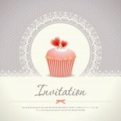 stock photo of cupcakes  - Vintage cupcake background 08 - JPG