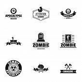Zombie Apocalypse Logo Set. Simple Set Of 9 Zombie Apocalypse Logo For Web Isolated On White Backgro poster