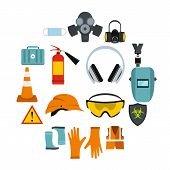 Flat Safety Icons Set. Universal Safety Icons To Use For Web And Mobile Ui, Set Of Basic Safety Elem poster