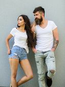 Urban Loving Couple. Couple Stylish Young Modern People. Couple White Shirts Lean Each Other. Hipste poster