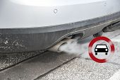 Double Exhaust From A Car With Smoke And The Traffic Sign For Driving Ban, In German Fahrverbot For  poster