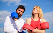 Stand For Your Point View. Couple In Love Boxing Gloves Sky Background. Man And Girl After Fight. Fa poster