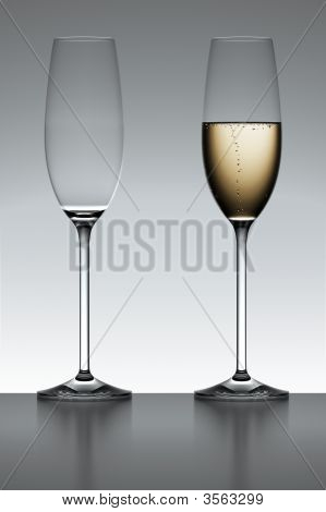 Champagne Flutes In Backlight
