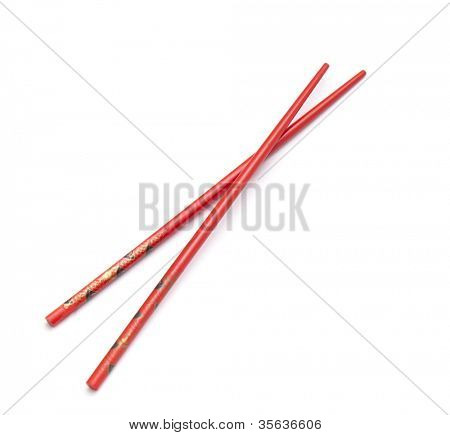 Asian chopsticks on white background