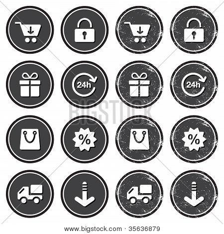 Shopping on internet retro badges - grunge style