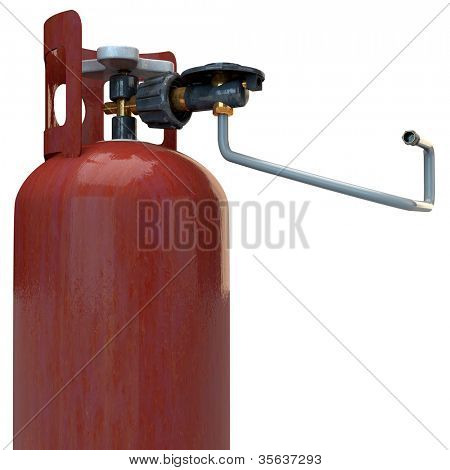 Propane gas bottle with burner adapter in 3D