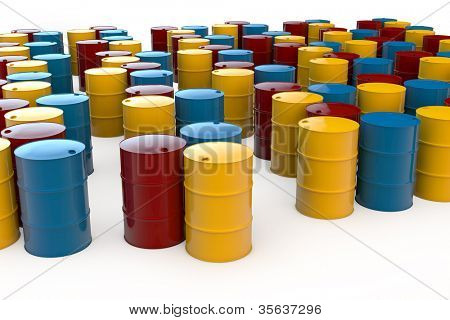 Different oil barrels in 3D standing on white background