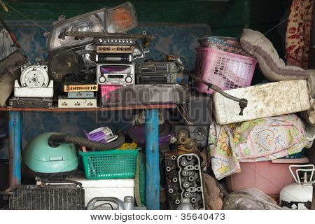 miscellaneous stuff stored in home workshop