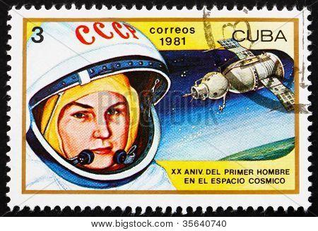 Postage stamp Cuba 1981 Valentina Tereshkova, 1st Woman in Space