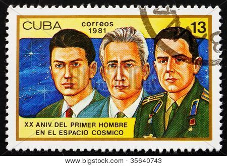 Postage stamp Cuba 1981 Konstantin Feoktistov, Boris Yegorov and