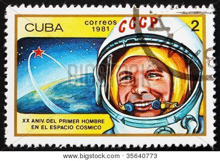 Postage stamp Cuba 1981 Yuri Gagarin, 1st Man in Space