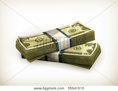Stack of Dollars, old-style vector isolated