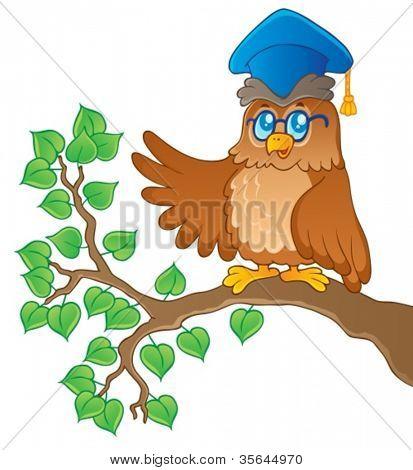Owl teacher theme image 1 - vector illustration.