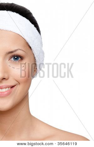 Woman wants to make a facelift, half-viewed face, isolated, white background