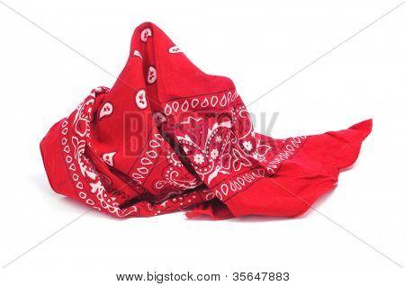 paisley patterned red bandana on a white white background