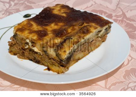 Lamb Moussaka With Egg Plant Cheese And Cream