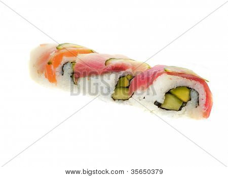 Sushi  shot on white isolated