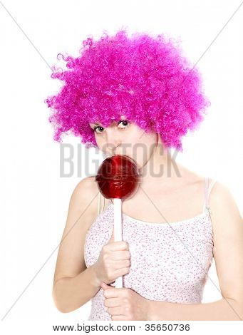 pretty girl with big lollipop