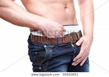 One Handsome Caucasian Muscular Man With Naked Torso Isolated On White Background.