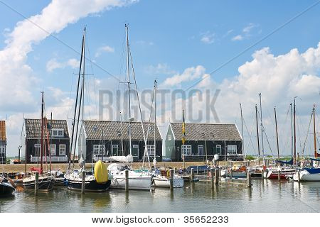 Yachts In  Harbor Of The Island Marken. Netherlands