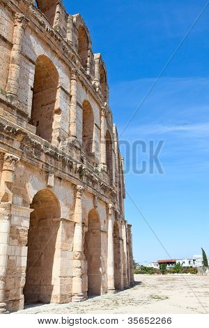 Demolished ancient walls and arches in Tunisian Amphitheatre in El Djem, Tunisia