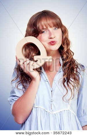 Unsure Female Student With Letter Q For Question