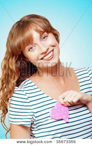 Heart Struck Woman In Romantic Love Affair