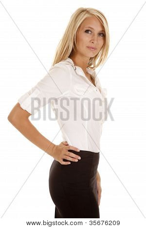 Woman Business White Side Small Smile