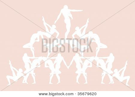 Human Pyramid in Pink
