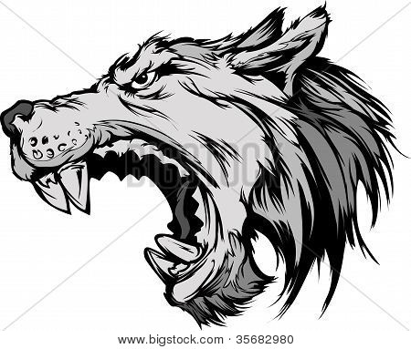 Wolf Mascot Head Vector Cartoon.wolf Mascot Head Vector Cartoon.