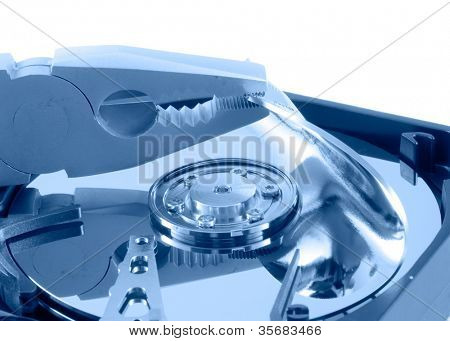 Close up view of the hard drive