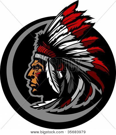 American Native Indian Chief Mascot Head Vector Graphic