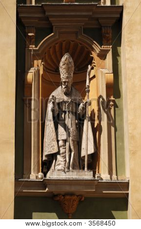 Mounted Sculpture Of The Bishop Blessing, Nice