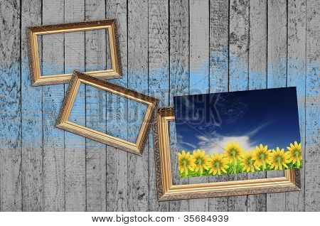 Blank Frames And Picture Of Flowers On Vintage Wooden Wall