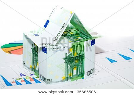 house from euro on a background of diagrams