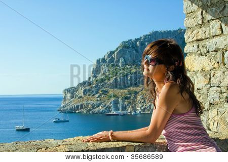 Dreaming Young Woman On Resort