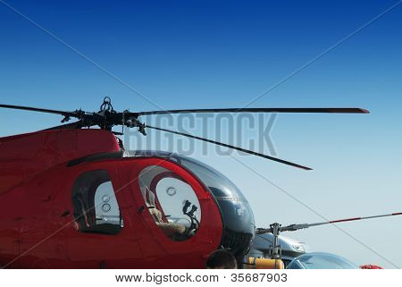helicopter on a background of the sky