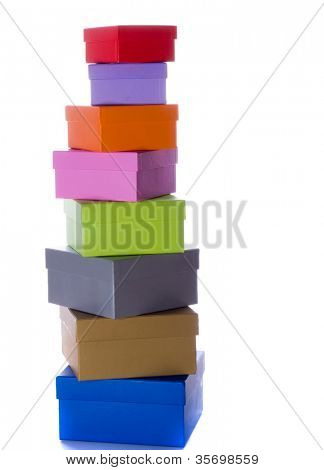 colored gift boxes on the white