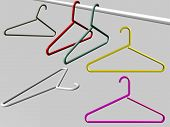 stock photo of clothes hanger  - Diverse Hangers isolated over a gray background - JPG