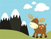Baby Moose And Mountains
