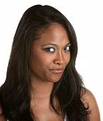 picture of cynicism  - Skeptical African woman with long hair on white background - JPG