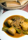 picture of agneau  - stewed lamb with vegetables and bread loaf Tunis Tunisia koucha a l - JPG