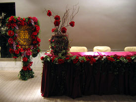 picture of wedding table decor  - reception of a chinese wedding party - JPG