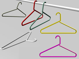 image of clothes hanger  - Diverse Hangers isolated over a gray background - JPG