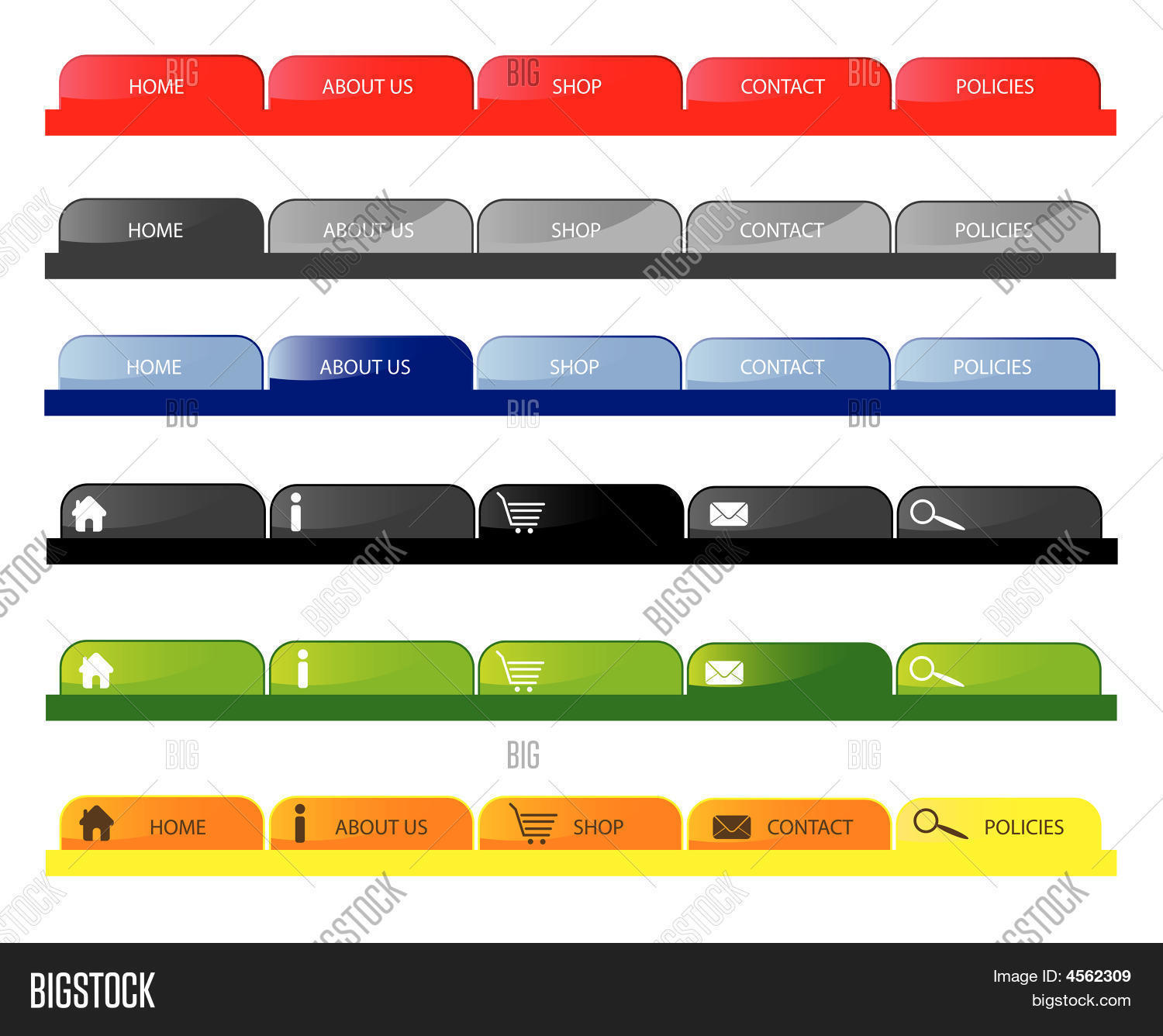 Navigation Tabs.eps Vector & Photo | Bigstock